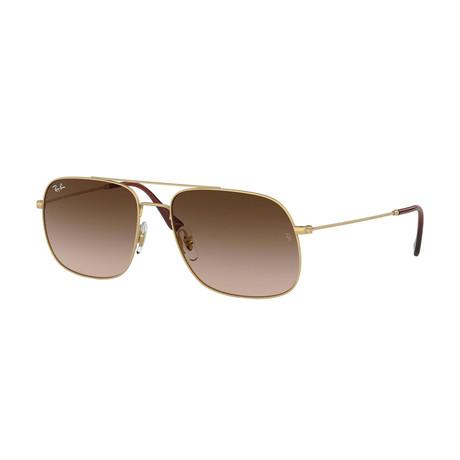 Men's Square Aviator Sunglasses // Gold + Brown Gradient