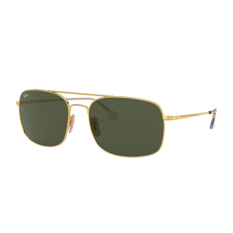 Men's Large Rectangular Aviator Sunglasses // Gold + Green