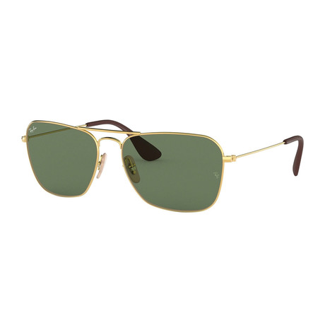 Men's Large Pilot Sunglasses // Gold + Green