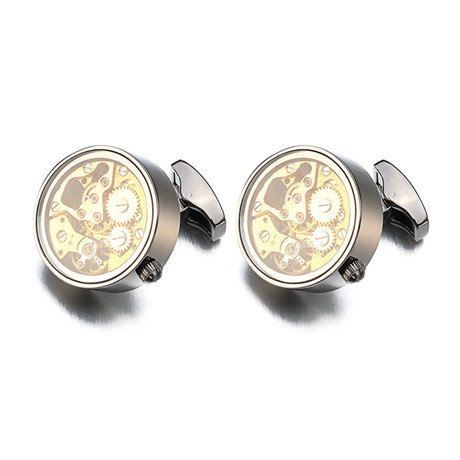 Lourde Circle Watch Gear Cufflink // Gunmetal Black + Gold