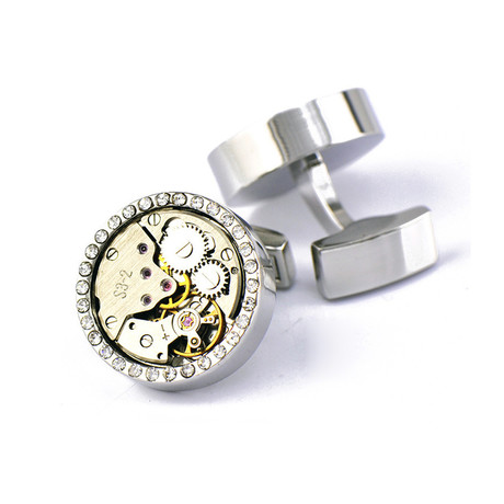 Francis Circle Crystal Gear Watch Cufflink // Silver