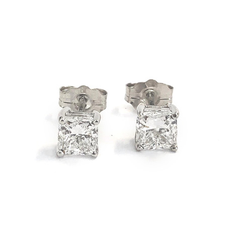 Estate 14k White Gold Princess Diamond Stud Earrings // Pre-Owned