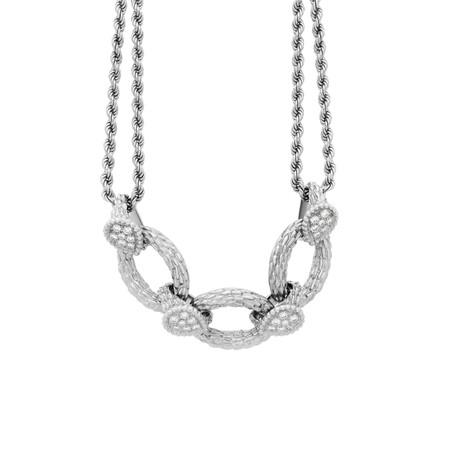 Boucheron 18k White Gold Serpent Boheme Double Chain Diamond Necklace // Pre-Owned
