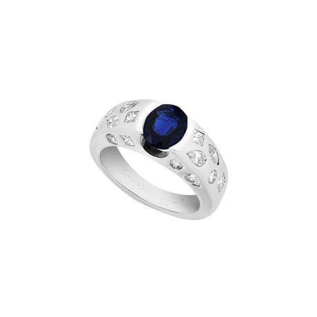 Chanel 18k White Gold Diamond + Sapphire Ring // Ring Size: 6 // Pre-Owned