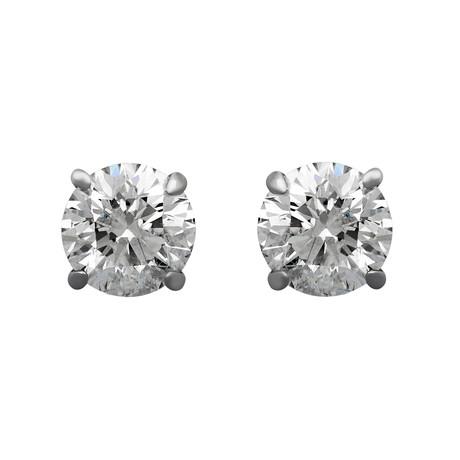 Estate 14k White Gold Brilliant Diamond Stud Earrings // Pre-Owned