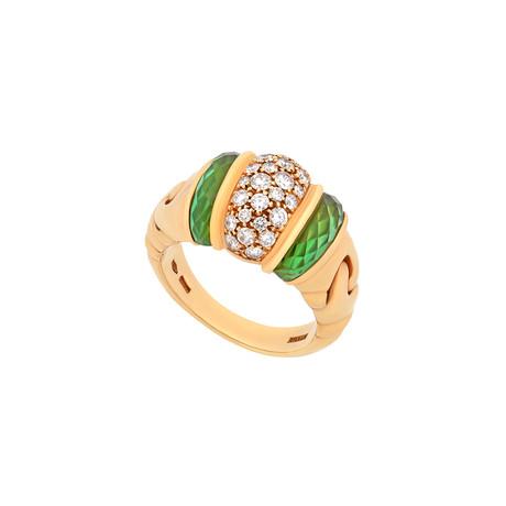Bulgari 18k Yellow Gold Diamond + Peridot Ganci Ring // Ring Size: 7 // Pre-Owned