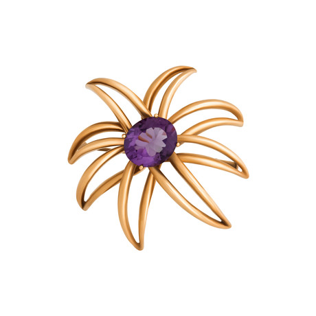 Tiffany & Co. 18k Yellow Gold Amethyst Brooch // Pre-Owned