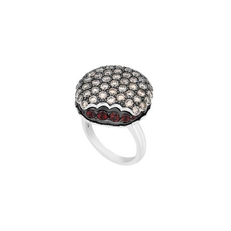 Boucheron 18k White Gold Diamond + Garnet Ring // Ring Size: 6.25 // Pre-Owned