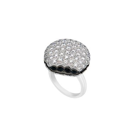 Boucheron 18k White Gold Diamond + Black Sapphire Ring // Ring Size: 6.25 // Pre-Owned