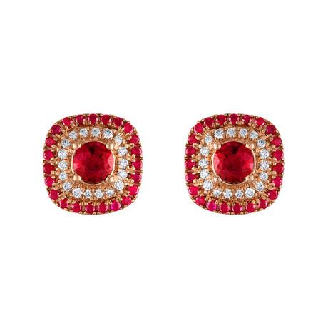 Tresorra 18k Rose Gold Diamond + Ruby Earrings // Pre-Owned