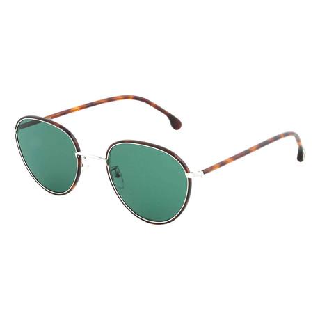 Unisex Albion Round Sunglasses (Black Ink + Brown)