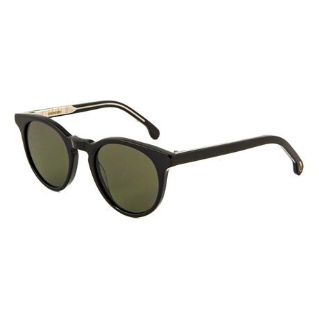Unisex Archer Round Sunglasses (Black Ink + Brown)
