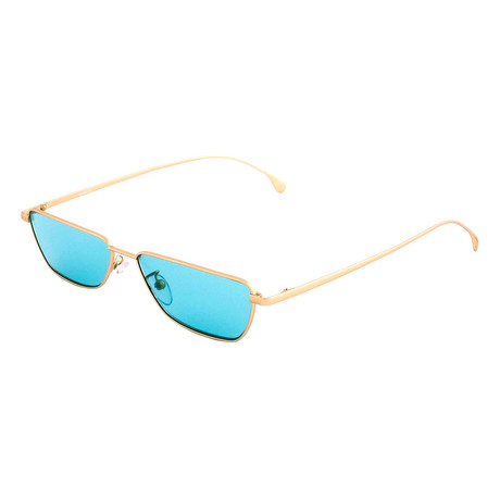 Unisex Askew Rectangular Sunglasses (Gold)