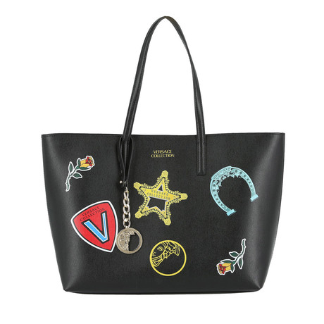 Versace Collection // Patches Tote // Black + Multicolor