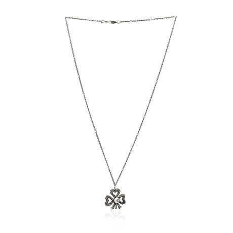 Gucci Sterling Silver Pearl Pendant Necklace