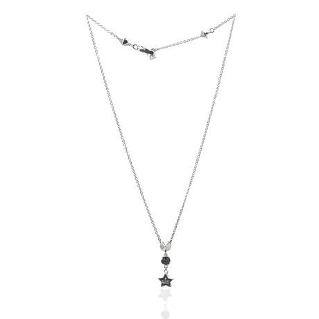 Gucci Sterling Silver Black Zircon Pendant Necklace