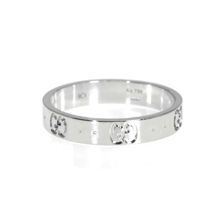 Gucci Icon 18k White Gold Band Ring // Ring Size: 9