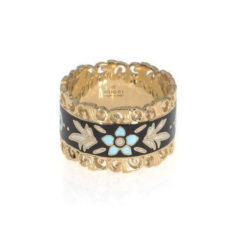 Gucci Icon 18k Yellow Gold + Enamel Ring // Ring Size: 5.75