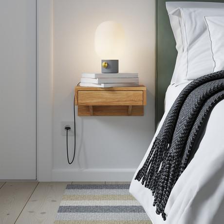 BO Floating Nightstand + Drawer + Bedside Table (Oak Wood)