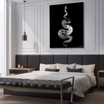 """Python Gyotaku No. 01 (White Black) // Canvas (12""""W x 15""""H x 2""""D)"""