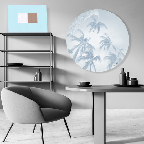 "Swaying Palms (Pale Blue) // High Gloss Panel (15""W x 15""H x 0.5""D)"