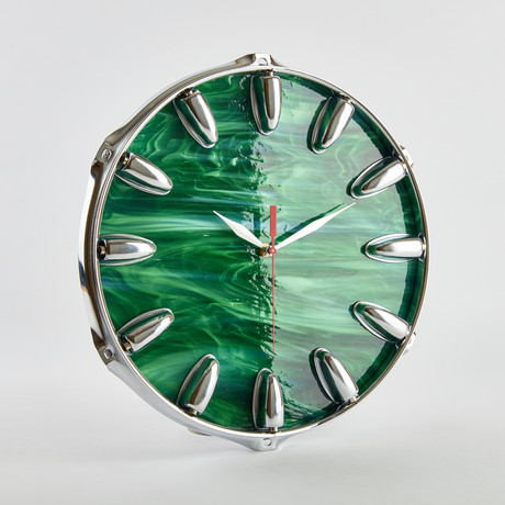 "Snare Drum Wall Clock // 12.5"" (Green Wave Art)"