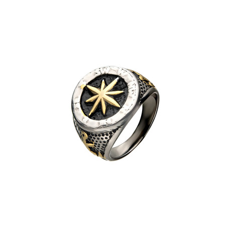 Oxidized Anchor + Compass Signet Ring // Steel + Gold (Size 9)