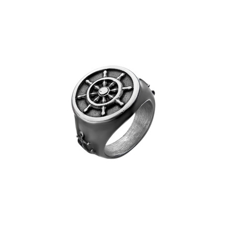 Antiqued Finish Anchor + Ship's Wheel Ring // Steel (Size 9)