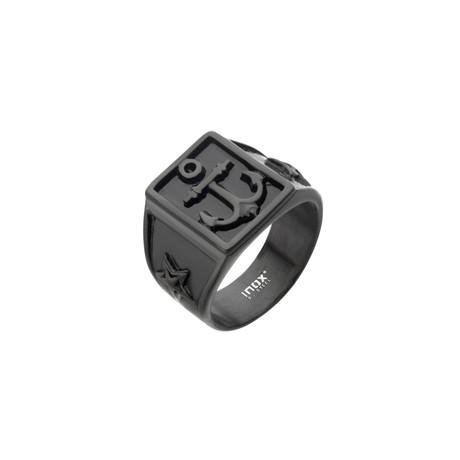 Oxidized Anchor Signet Ring // Black (Size 9)