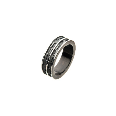 Black Plated + Steel Edgy Layered Ring (Size 9)