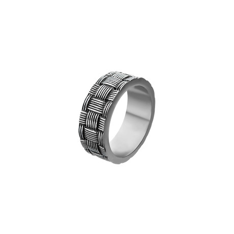 Antiqued Stainless Steel Weave Pattern (Size 9)