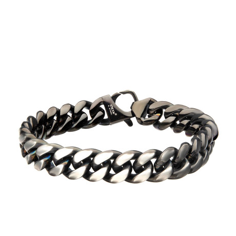 Matte Steel + Black Plated Reversible Big Curb Chain Colossi Bracelet