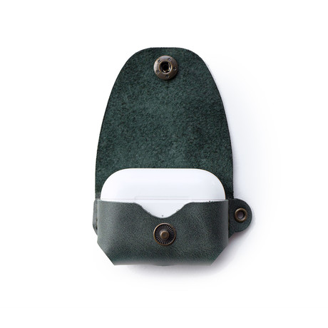Airpods Pro Leather Case // Emerald