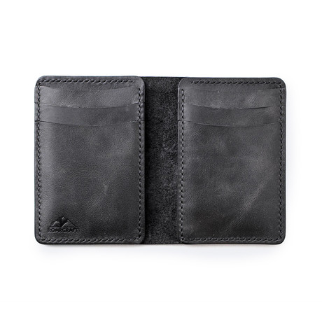 Leo Vertical Bifold Leather Wallet // Coal