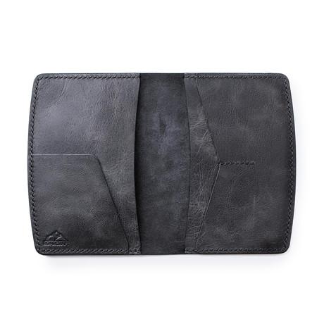 Nemrut Leather Passport Wallet // Coal