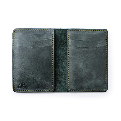 Leo Vertical Bifold Leather Wallet // Emerald