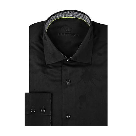 Paint Splash Jacquard Long Sleeve Shirt // Black (S)