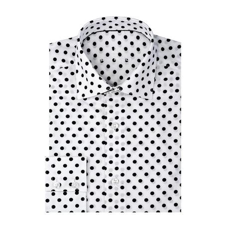 Dotted Poplin Print Long Sleeve Shirt // White (S)