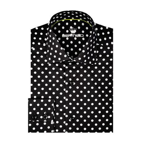 Dotted Poplin Print Long Sleeve Shirt // Black (S)