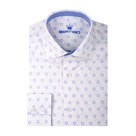Circle Jacquard Print Long Sleeve Shirt // White (S)