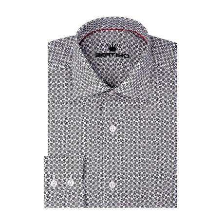 Abstract Poplin Print Long Sleeve Shirt // White (S)