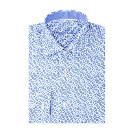 Polygon Poplin Print Long Sleeve Shirt // White + Blue (S)