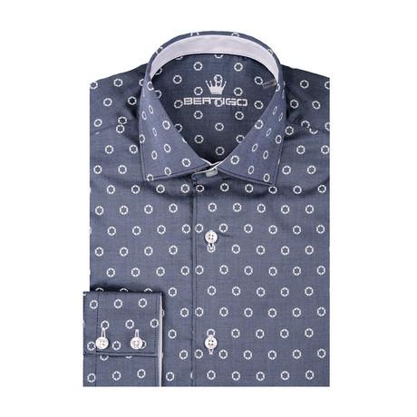 Circle Jacquard Print Long Sleeve Shirt // Navy Blue (S)