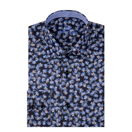 Bicycle Poplin Print Long Sleeve Shirt // Navy Blue (S)