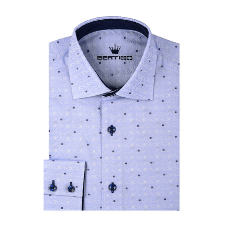 Dotted Abstract Jacquard Long Sleeve Shirt // Blue (S)