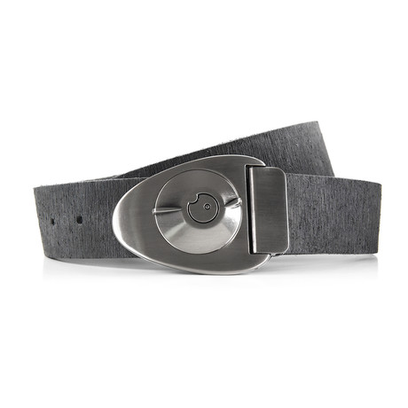 Satin Gunmetal Dial Rough Rider Belt // Gray (Size 32)