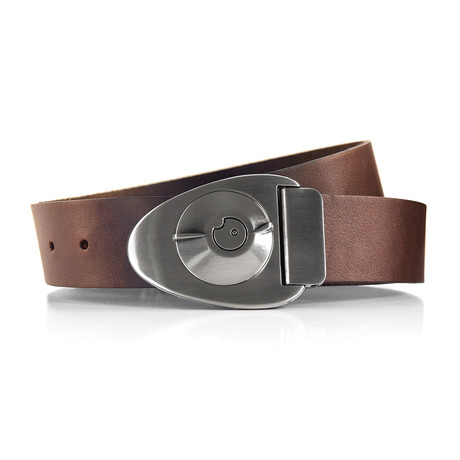 Satin Gunmetal Dial Belt // Brown (Size 32)