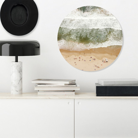 "Beach Fly Over - Round // High Gloss Panel (15""W  x  15 ""H x 0.5""D)"