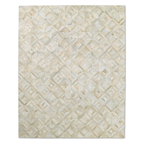 Cowhide Rug // Ivory Diamond (4' x 6')