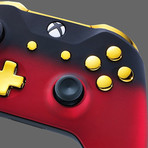 Xbox One Controller // Red Shadow + Gold